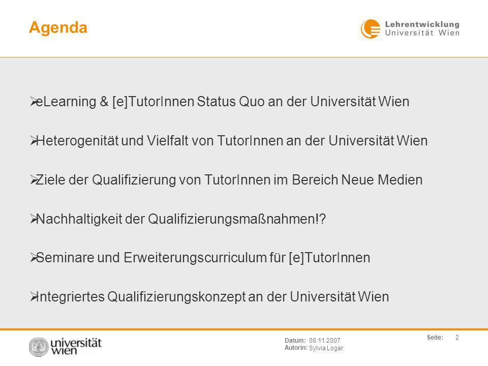 Agenda eLearning & [e]TutorInnen Status Quo an der Universität Wien